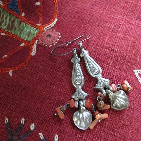 Uzbekistan - Khorezm antique ethnic silver earrings