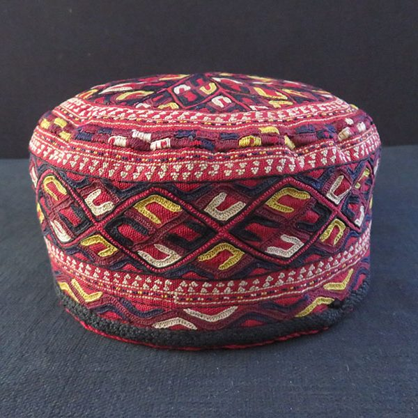 Turkmenistan Tekke antique tribal silk embroidered flat top hat