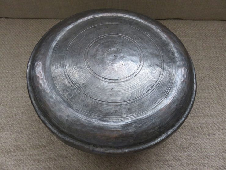 Persian - Qajar Antique hand forged copper dervish bowl