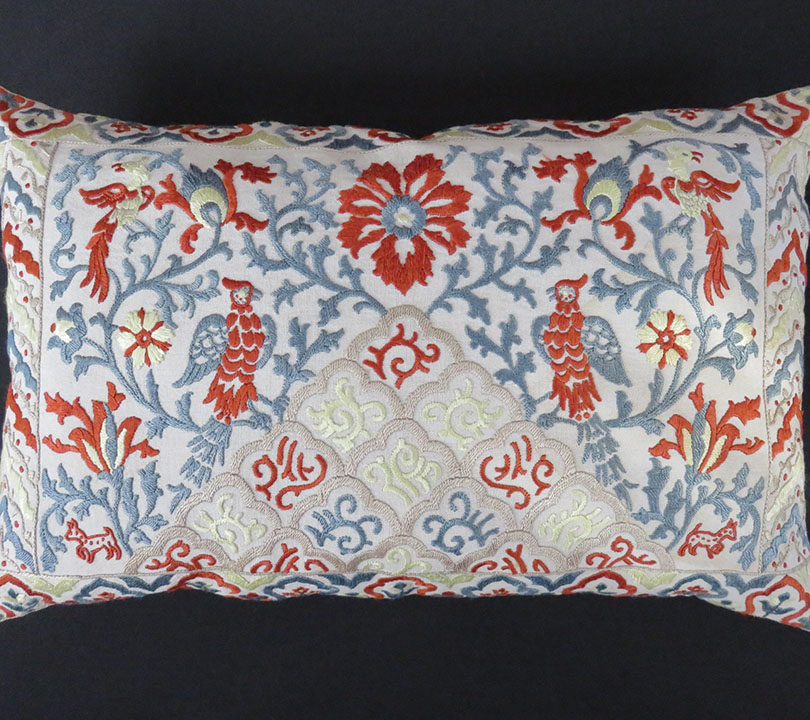 Pakistan Vintage Silk Embroidered Pillow Cover