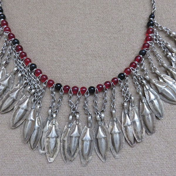 Afghanistan - ethnic Turkmen silver necklace