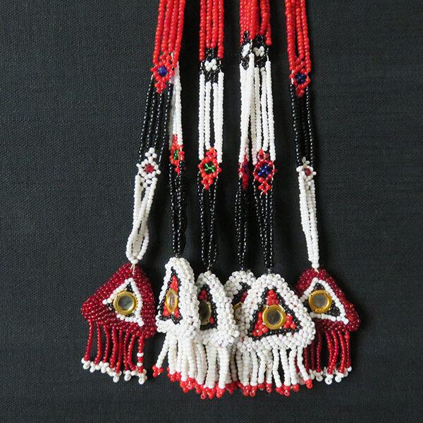 Afghanistan - Kuchi tribal glass beaded pair of hair decoration