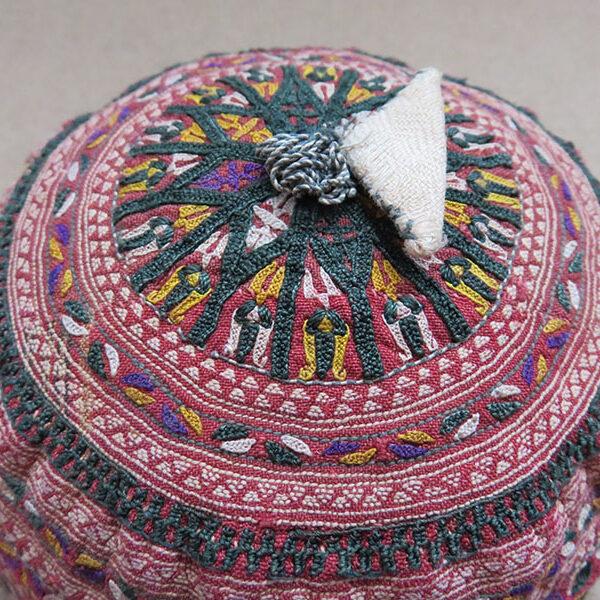 Turkmenistan Tekke tribal silk embroidered antique child hat