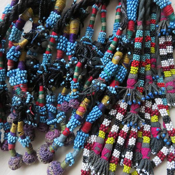 Uzbekistan Tribal glass beaded hair tassels