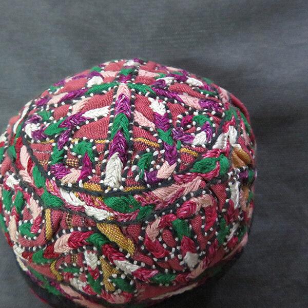 Central Asia Turkmenistan Yomud tribal child's ceremonial silk hat