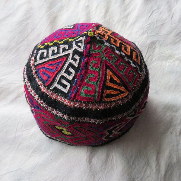 Persia Khorasan Turkmensahra - Turkmen tribal wool embroidered helmet shape hat