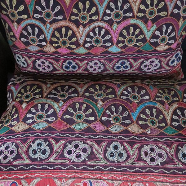 Northwest India - Kutch Tribal embroidery pair of pillows