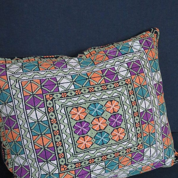 Syrian Palestinian silk cross stitch embroidery pillow cover