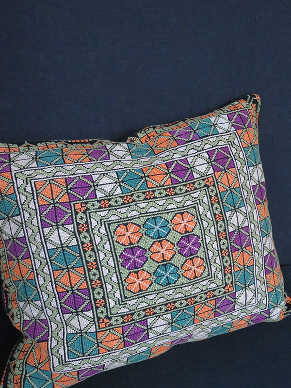 Syrian palestinian silk cross stitch embroidery pillow