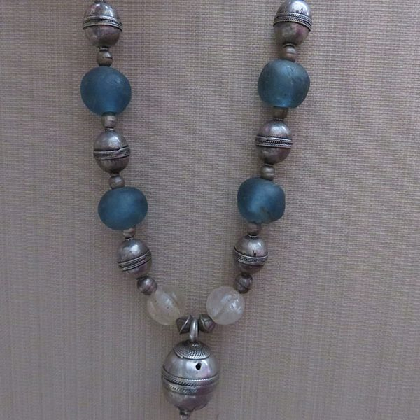 Afghanistan - Turkmen tribal silver – glass beaded necklace