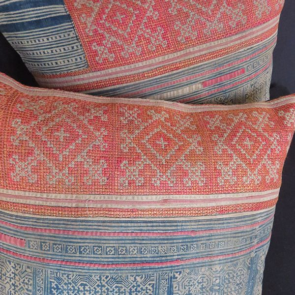 China - Hmong tribal antique embroidered and printed pair of pillow covers