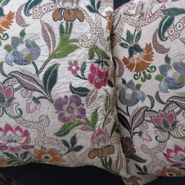 Russian silk and metallic mixed woven brocade pair of pillows