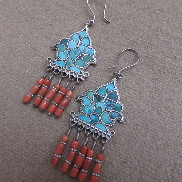 Uzbekistan – Bokhara, ethnic hand crafted Turquoise inlaid silver earrings
