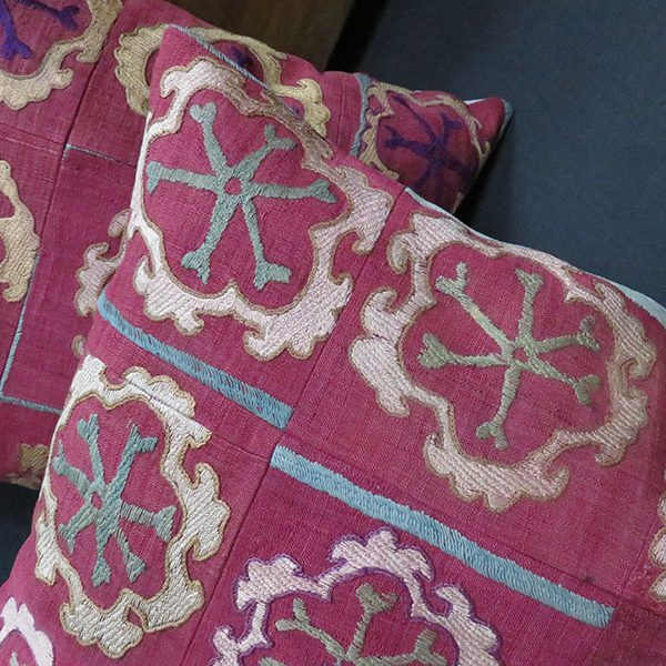 Uzbekistan - Samarkand vintage silk embroidery pair of pillow covers