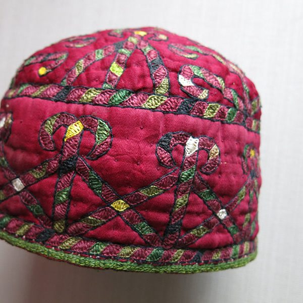 Afghanistan - Turkmen ERSARY tribal ceremonial silk embroidery hat