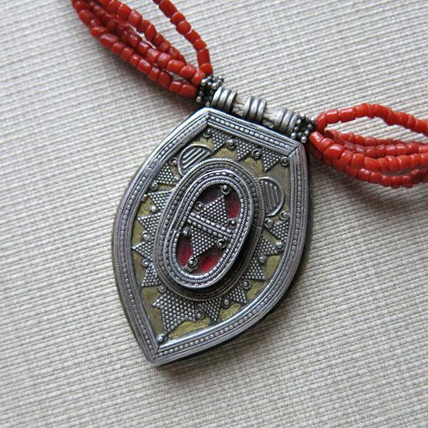 Kazakhstan tribal silver - coral necklace