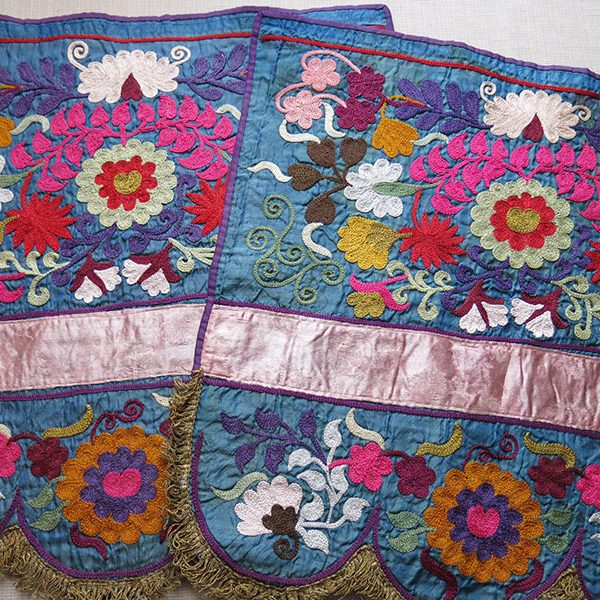 Uzbekistan Tartar ethnic SILK EMBROIDERY pair of hangings wall