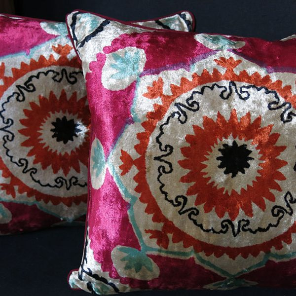 Uzbekistan vintage pair of velvet pillow covers