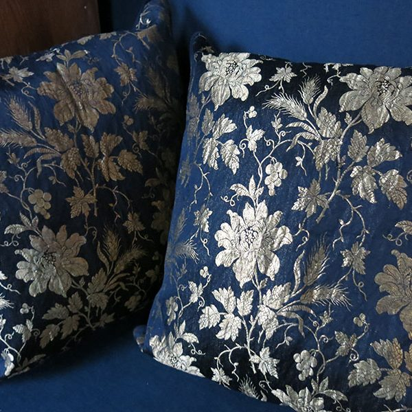 Russian Federation pair of silk and soft metallic brocade pillow covers
