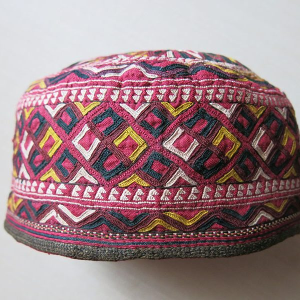 Turkmenistan Turkmen Tekke tribal silk embroidery antique hat
