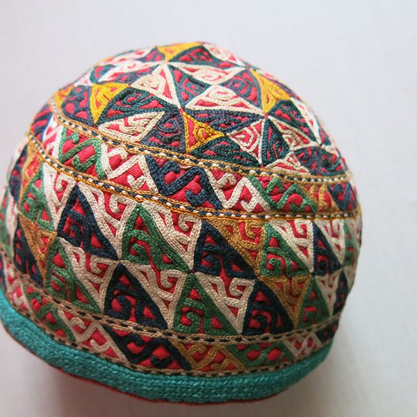 Turkmenistan CHODOR tribal silk embroidery ceremonial hat
