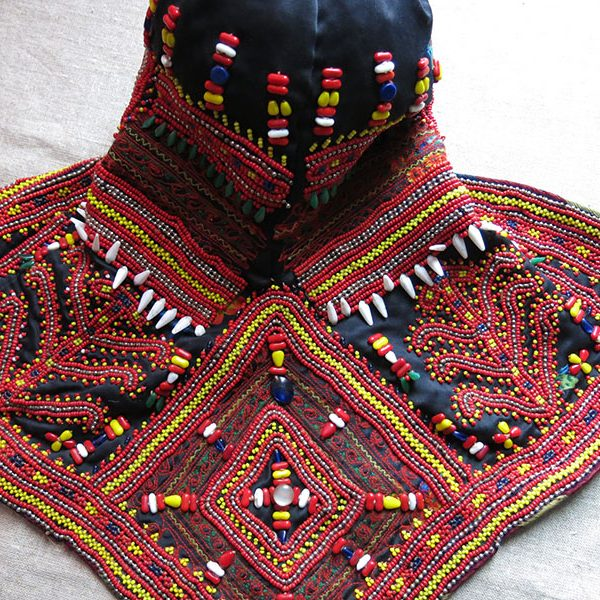 North Pakistan – Indus Kohistan embroidered and glass beaded helmet shape tribal hat