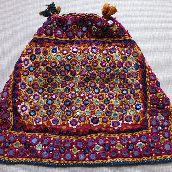 India - GUJARAT tribal helmet shape silk embroidery hat with talismanic shisha mirrors