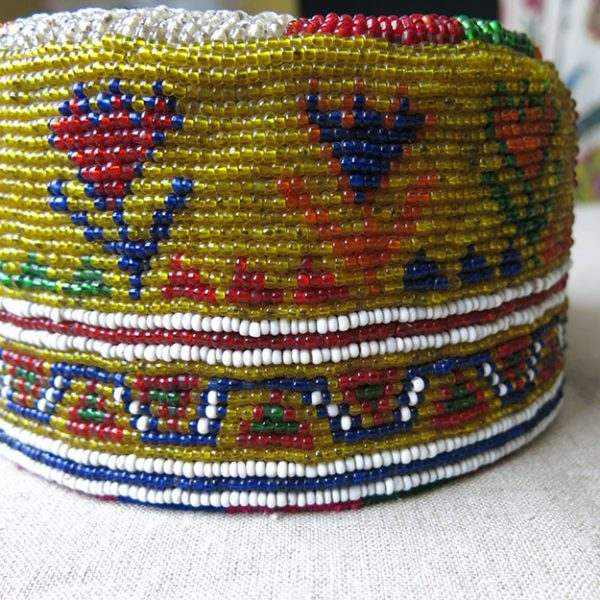 Afghanistan Pashtun tribal glass beaded hat