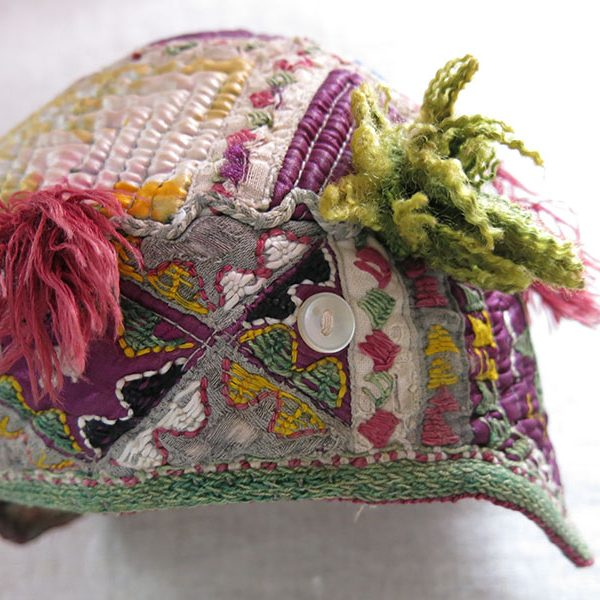 Afghanistan Turkmen colorful silk – cotton child hat