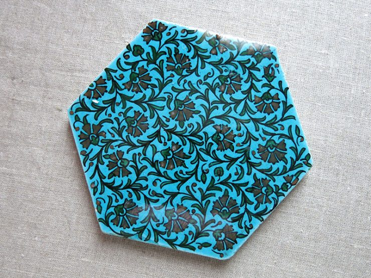 Anatolian Kutahya painted and glazed ceramic tile