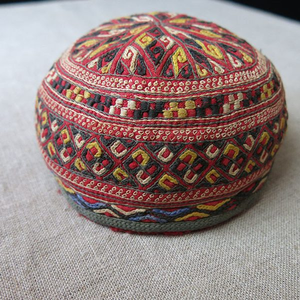 Turkmen TEKKE tribal silk and cotton embroidered child hat