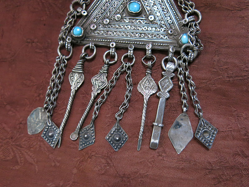Afghanistan kuchi tribal silver pendant necklace with silver afghanistan kuchi tribal silver pendant necklace with silver dangles aloadofball Gallery
