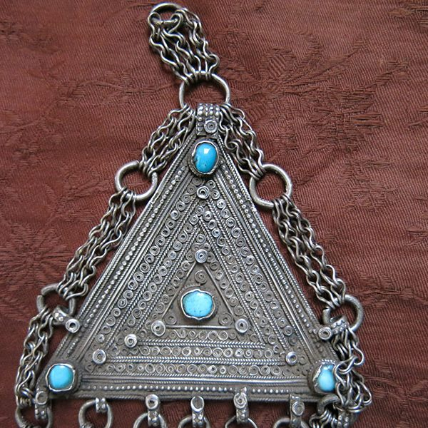 Afghanistan – KUCHI tribal silver pendant /necklace with silver dangles
