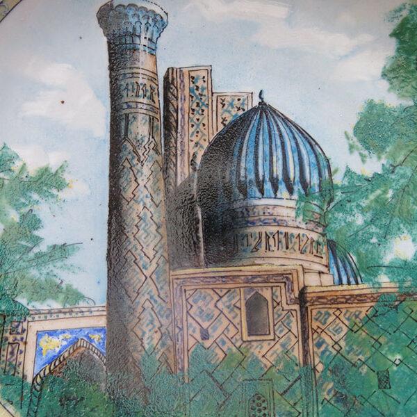Uzbekistan - Tashkent hand painted glazed ceramic plate