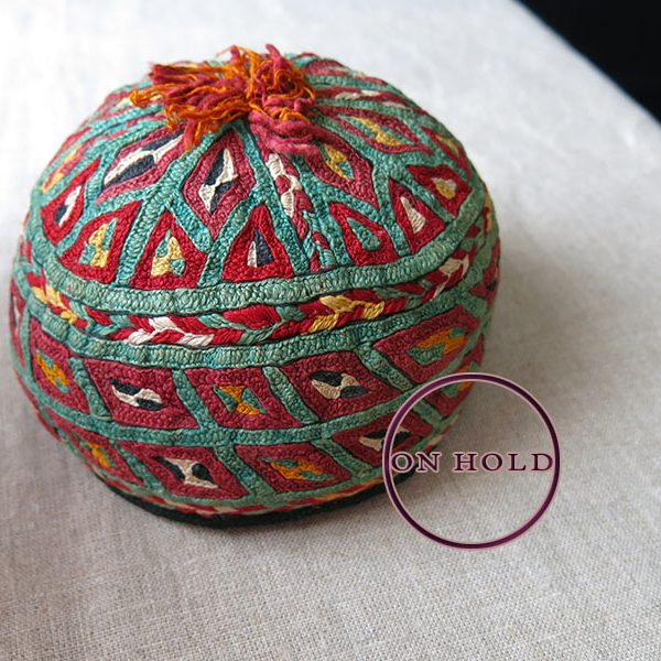 Turkmen Ersary tribal silk embroidery hat