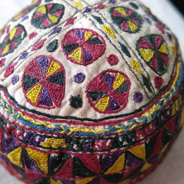 Afghanistan ERSARY Turkmen tribal silk embroidered hat