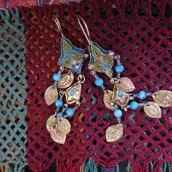 Uzbekistan - BOKHARA Enameled gilded silver ethnic earrings