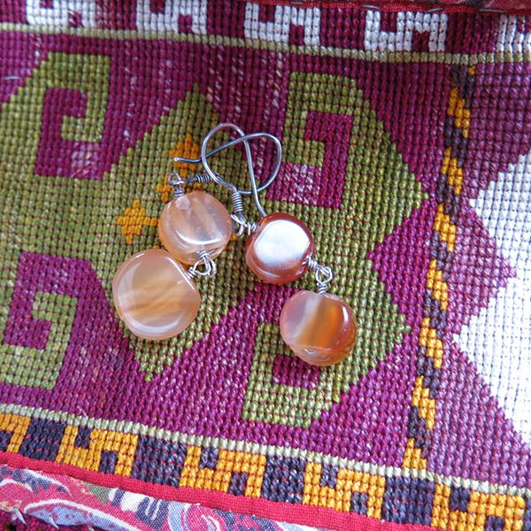 Anatolian Central East TURKEY antique pair of Agate earrings