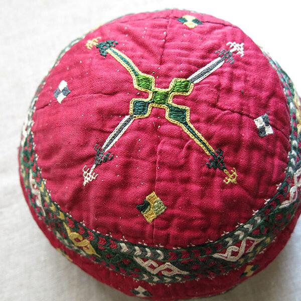Turkmen CHODOR ceremonial silk embroidered ethnic woman's hat