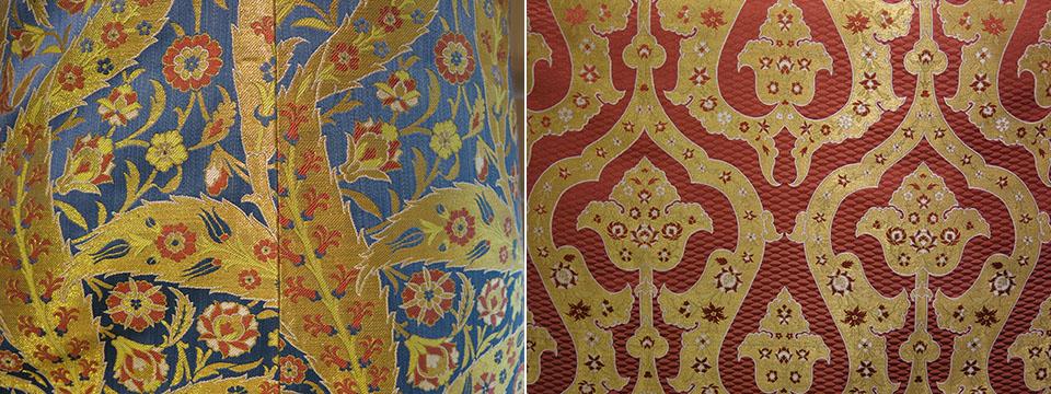 Revival Ottoman silk brocade fabrics