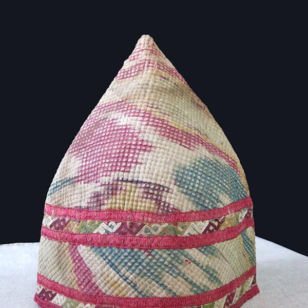 Turkmen CHODOR ceremonial silk Ikat quilted antique hat