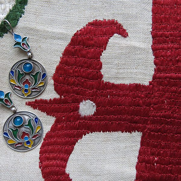 AFGHANISTAN – TURKMEN ethnic silver enameled earrings