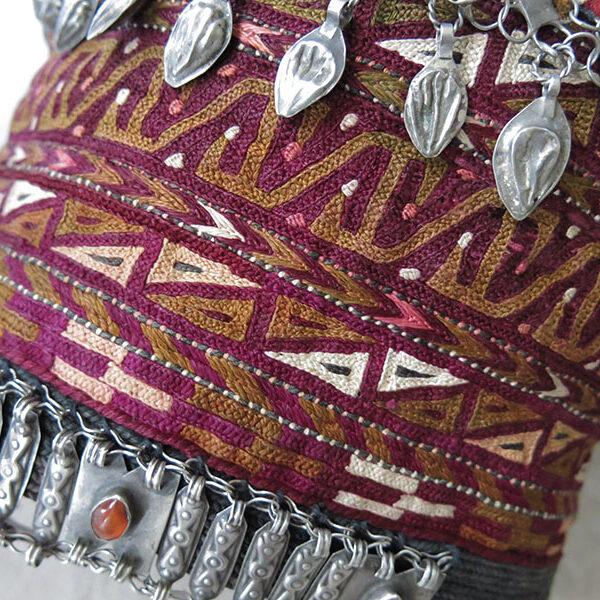 AFGHANISTAN - ERSARY Turkmen tribal ceremonial silk embroidered Hat