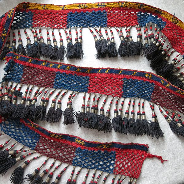 KIRGIZSTAN - Tribal all wool antique hand woven and braided ethnic tassels