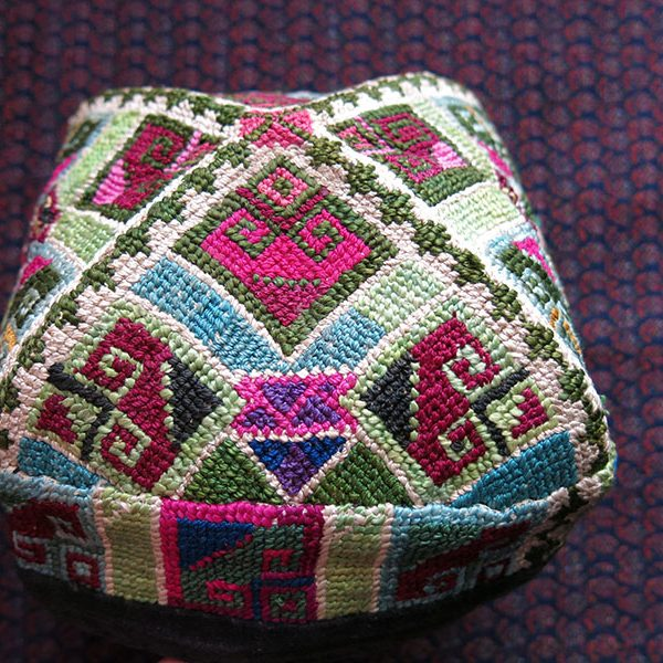 UZBEKISTAN FARGANA VALLEY silk embroidered ethnic skullcap / hat