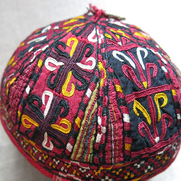 TURKMENISTAN TEKKE ethnic silk embroidered hat