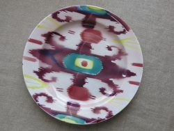 UZBEKISTAN IKAT DESIGN Antique glazed Ceramic plate