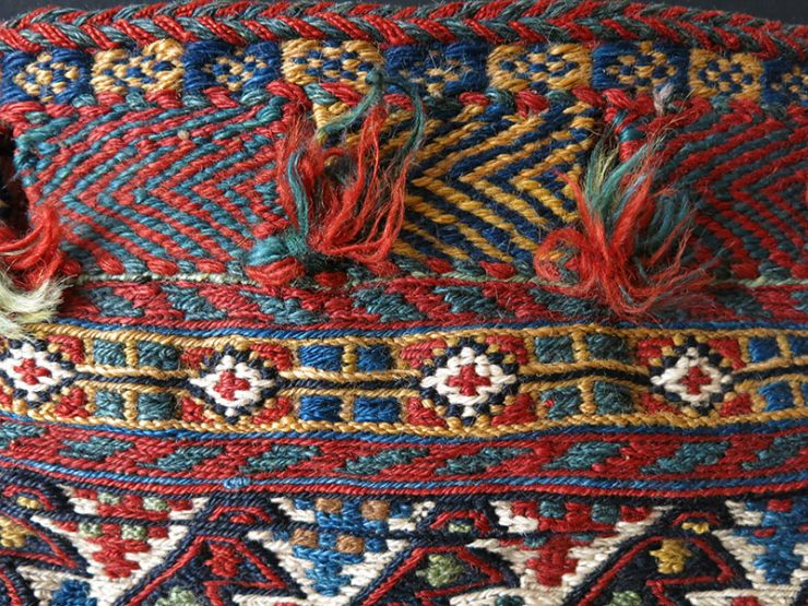SOUTHERN IRAN QASHKAI antique tribal all wool sumak woven bag