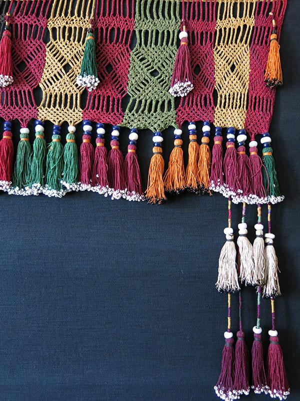 AFGHANISTAN LAKAI tribal braided mercerized cotton and beaded long tassel