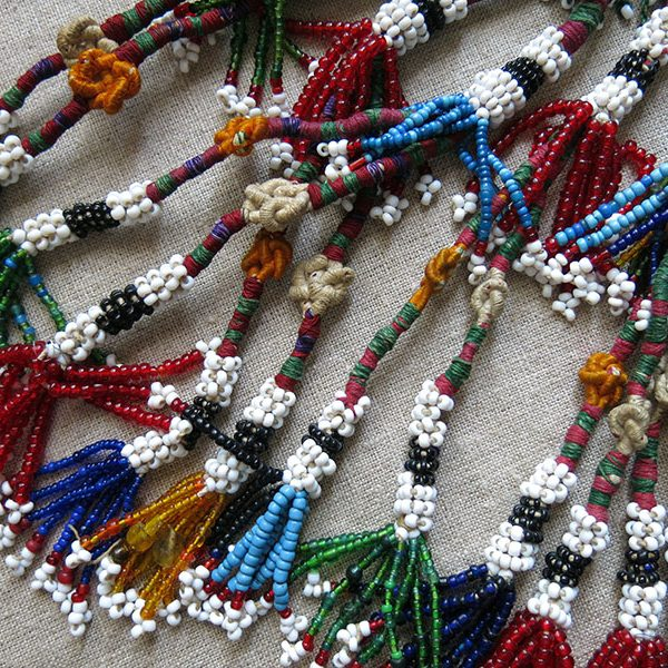 AFGHANISTAN Turkmen glass beaded tribal pair of tassel
